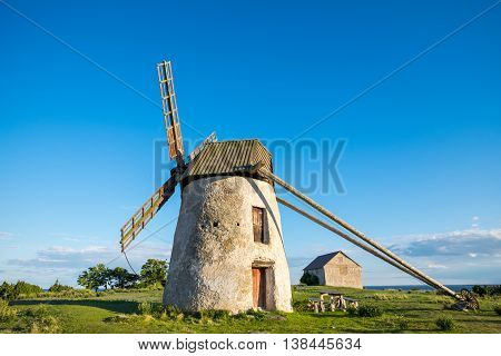 Old windmill on Baltic sea island Gotland during summer in Sweden