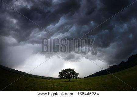 beautiful landscape on stormy weather, Dobrogea, Romania