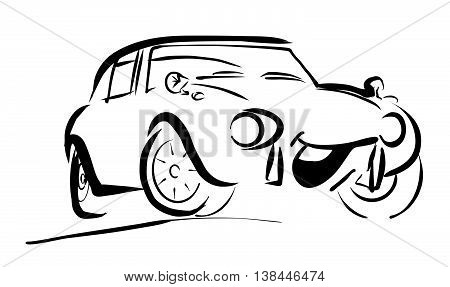Simple sportive smiling Comic Car. Hand drawn Vector Outline Sketch. Useful for any kind of advertising in web and print.