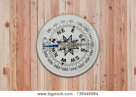 White Compass on old wooden interior background
