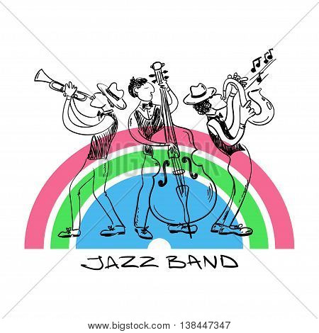 Jazz trio of saxophone trumpet and contrabass players. Musical background of sketch funny jazz band.