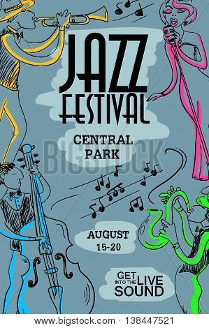 Colorful musical creative poster with singer saxophone trumpet and contrabass players. Jazz festival design concept invitation.