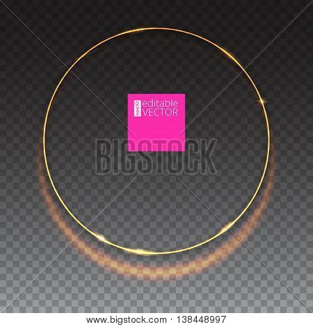Abstract ring on transparent background with luminous sparkle. Glowing spiral. Shine round frame tunnel with circles light effect. Cover for your presentation and design with space for your message.