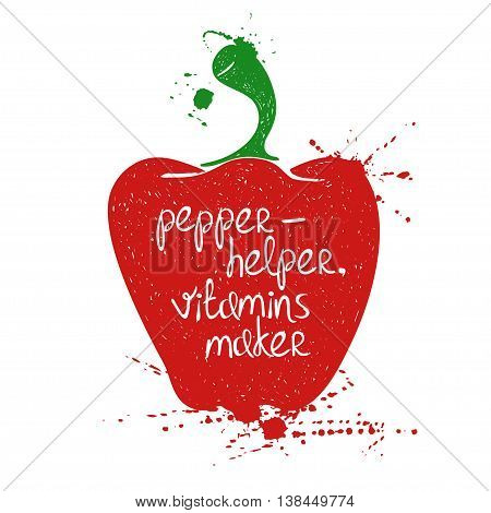 Hand drawn illustration of isolated colorful pepper silhouette on a white background. Typography poster with creative poetic quote inside - pepper-helper vitamins maker.
