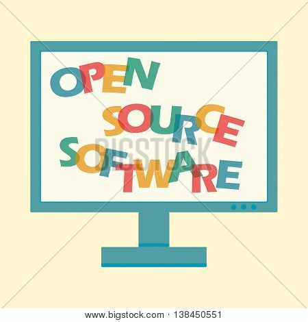 Open source software by bright letters on computer screen. Vector illustration for fee ilcense code app programm ideology script