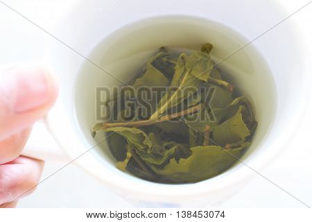 Freshly brewed Taiwanese highland tea ready to be served