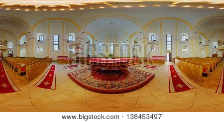 CLUJ-NAPOCA, ROMANIA - March 13: 360 panorama of the interior (altar) of the Unitarian Church on March 13th, 2016, in Cluj-Napoca, Transylvania, Romania.