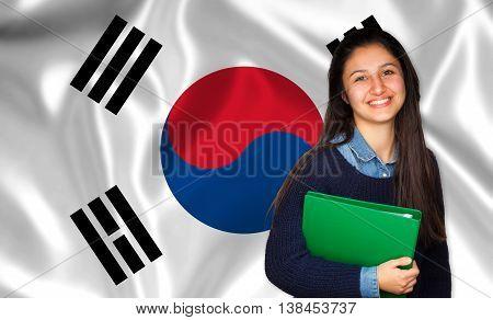 Teen Student Smiling Over Korean Flag