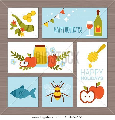 Jewish holiday Rosh Hashana (New Year) greeting card design with flat modern icons