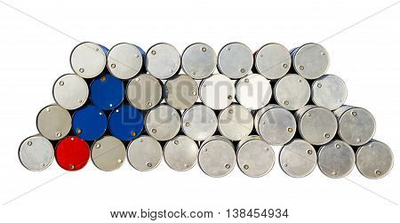 Oil gallons on white background isolated clipping path