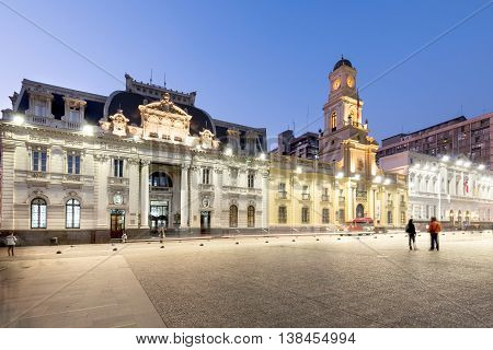 Santiago Region Metropolitana Chile - June 06 2016: A view of buildings around Plaza de Armas the main square of Santiago de Chile with the post office building the Historic National Museum and the City Hall.