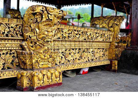 Front detail of Balinese etnic music instrument gamalan
