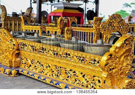 Balinese etnic musical instrument of gamalan bells