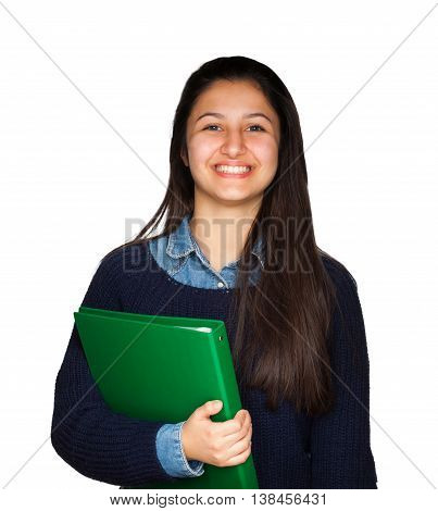 Cute Teenager Smiling On White Background