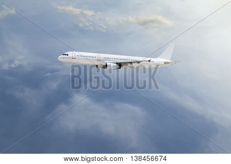 Airplane in the sky travel and tour background