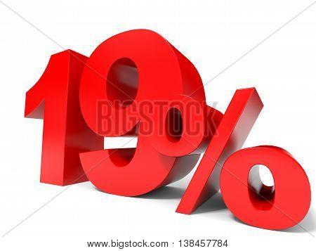 Red Nineteen Percent Off. Discount 19%.