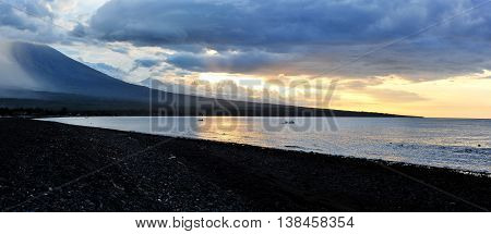 Beautiful panoramic sunset landscape from the West coast of Bali Indonesia