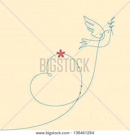 Dove and heart. Peace dove with olive branch.