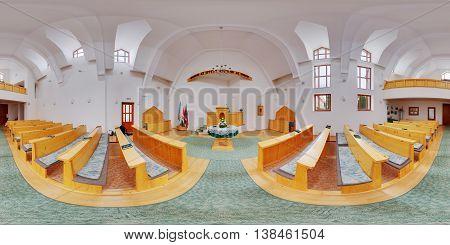 MIERCUREA NIRAJULUI, ROMANIA - May 7: 360 panorama of the interior (nave) of a brand new Unitarian Church on May 7th, 2016, in Nyárádszereda (Miercurea Nirajului), Transylvania, Romania.