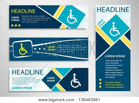 Disabled Handicap Icon On Horizontal And Vertical Banner.