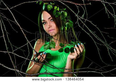 Pretty Woman Between Dry Branches