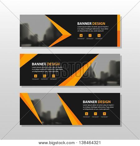 Orange black triangle square abstract corporate business banner template horizontal advertising business banner layout template flat design set clean abstract cover header background for website design