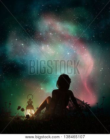 3d computer graphics of a fantasy scene with a girl who is sitting in the grass at night and watching the starry sky