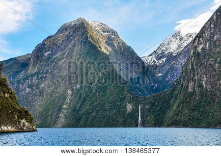 Approaching A Waterfall In Milford Sound, New Zealand