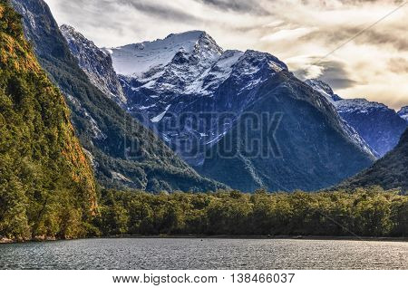 Snowy Mountain In The Milford Sound, New Zealand