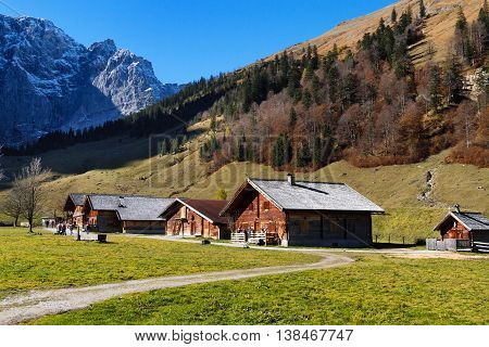 Autumn rural scenery of Engalm with alpine village Almdorf Eng Tyrolean Karwendel Mountains AustriaTyrol.