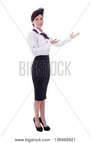 Welcoming Flight Attendant Isolated On White