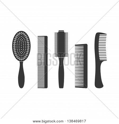 Hair combs and hairbrushes set icons isolated on a white background. Fashion equipment collection hairbrush and style comb icon hairdresser vector. Care for themselves in flat style
