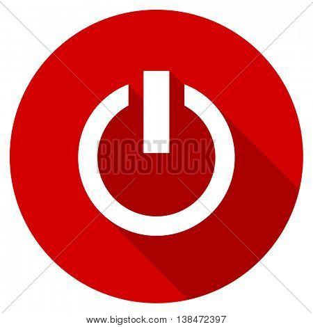 power vector icon, red modern flat design web element