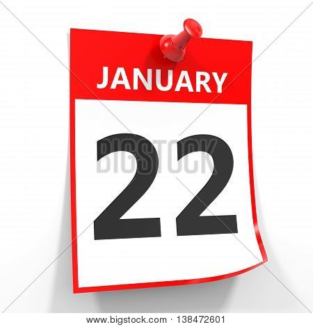 22 January Calendar Sheet With Red Pin.