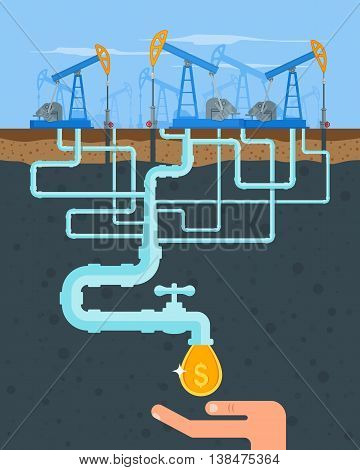 Transform oil to money concept. Get cash from oil pipe. Black gold. Oil pumps. Vector illustration in flat style. Oil and gas industry.