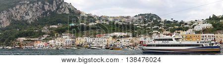 CAPRI ITALY - JUNE 26: Marina Grande in Capri on JUNE 26 2014. Moored Boats in Port at island in Capri Italy.