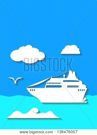 Cruise ship in the sea flat style vector illustration. Vertical banner or postcard template with the place for text. Summer holiday cruise image. Traveling by boat picture for cover. Speech bubbles.