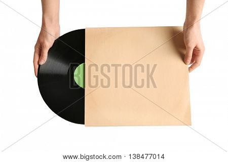Woman holding vinyl record