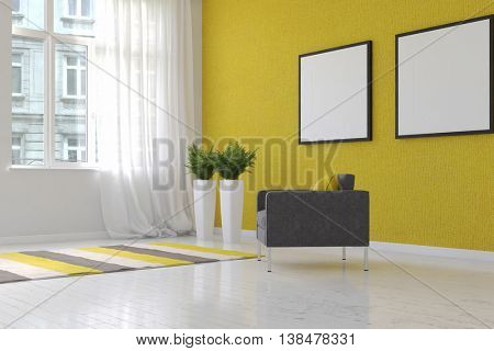3D rendering of airy living room scene textured yellow wallpaper, two fern plants on tall stands and blank square picture frame beside single chair
