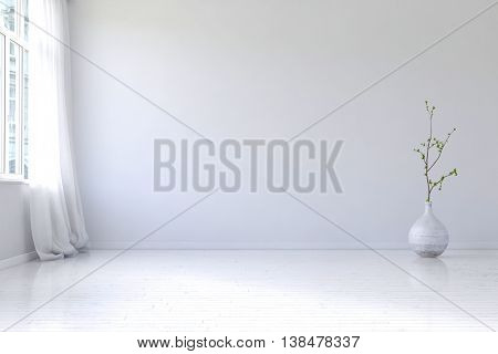 Empty apartment room interior with blank white walls, hardwood floor, large casement windows and planter with little tree shrub. 3d Rendering.