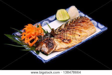 Japanese Saba grill with sweet sauce teriyaki in studio flash lighting