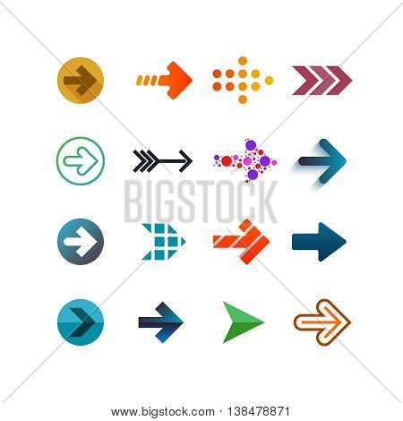 Set of different vector arrows. Bright forms and colors. Linear flat and gradient vector design templates of arrows