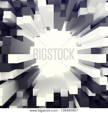 Cubical white and black background with hole in centre. 3d illustration