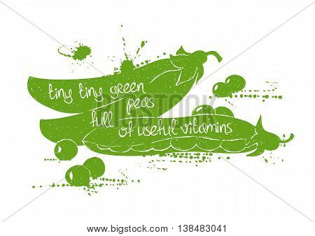 Hand drawn illustration of isolated green peas silhouette on a white background. Typography poster with creative poetic quote inside - tiny tiny green peas full of useful vitamins.