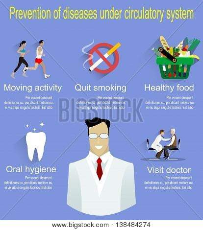 Heart and circulatory system disease prevention infographics. Flat style medical concept illustration