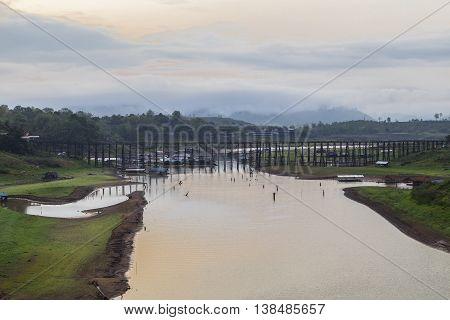 The old wooden bridge Mon bridge Sangkhlaburi. Kanchanaburi