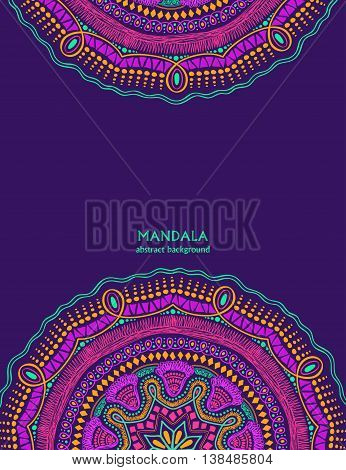 Invitation or card with colorful mandala design. Hand drawn vibrant colorful circle mandala design. Ethnic ornament background.