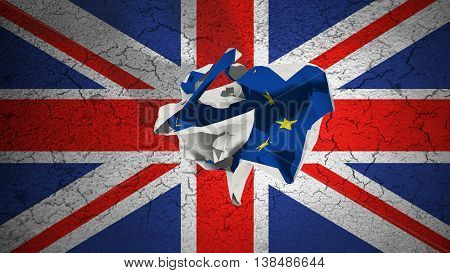 Brexit Rolling Crumpled Paper With Blue European Union Eu Flag On Grunge Great Britain Uk Flag