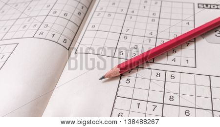 Sudoku Crossword And Pencil. Brain Teaser Logic Game.