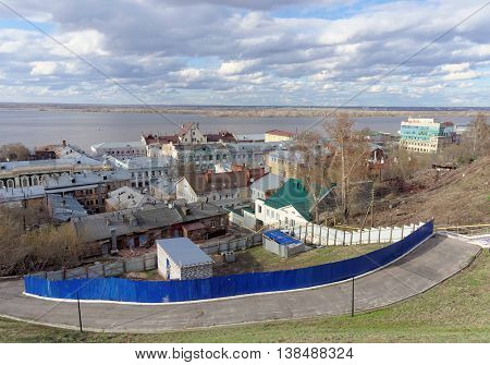 View from the high bank of the Oka River in the street Christmas and expanse of water